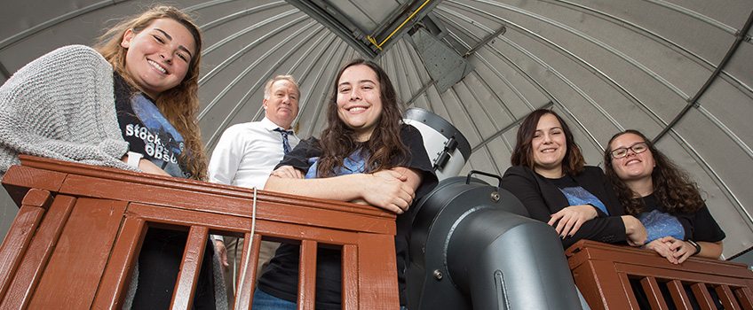 Physics students who helped refurbish observatory