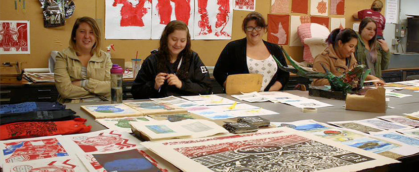 Students in Printmaking Class