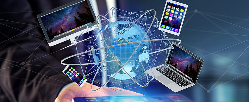 Image composition of various computing devices surrounding a globe
