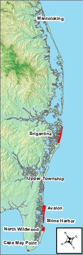 map of the New Jersey shore
