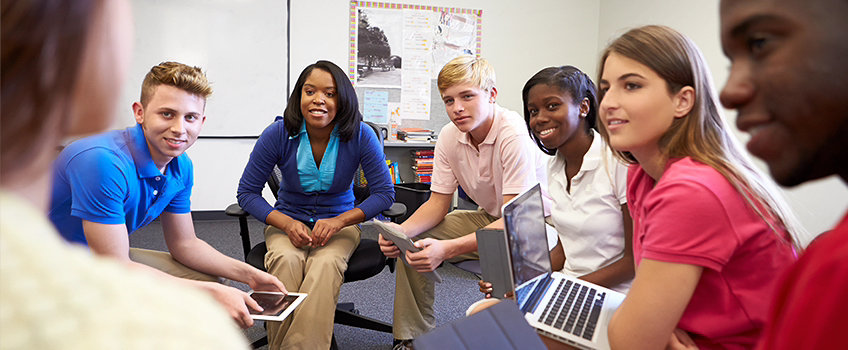 Group of High School Students Collaborating