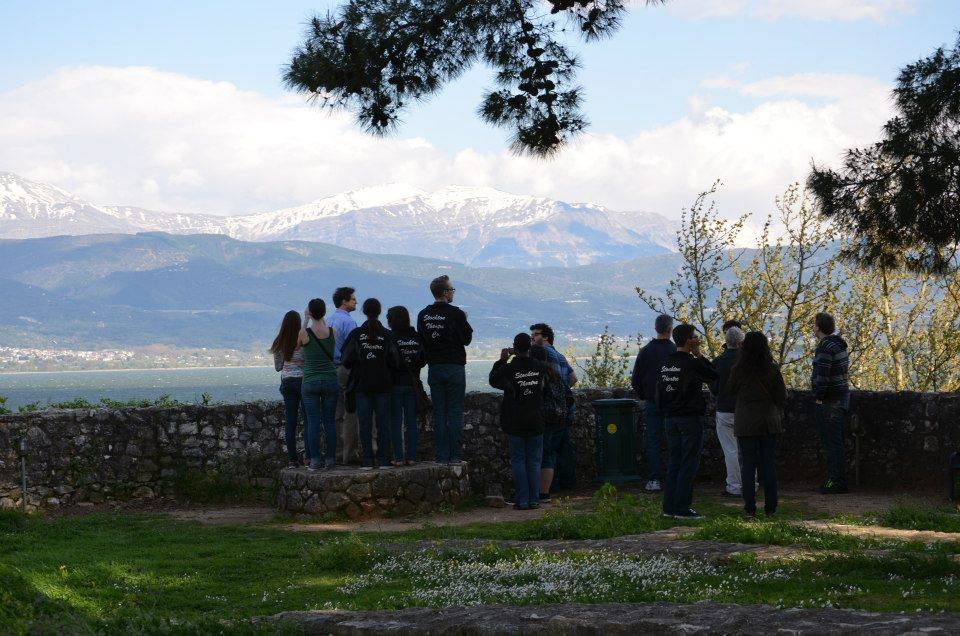 Stockton students sightseeing in the mountains in Greece