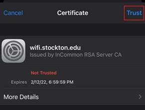 A screenshot of the wifi network security certificate for wifi.stockton.edu