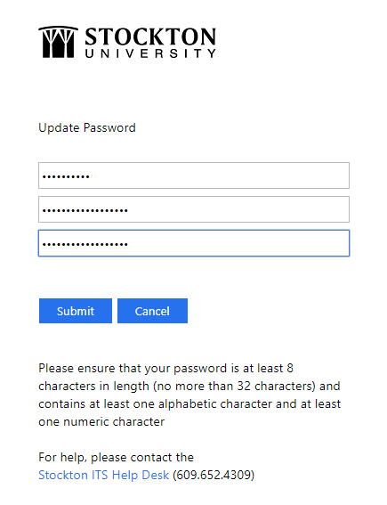 Enter old and new password