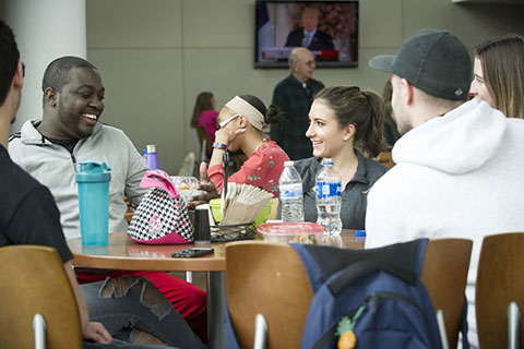 students in the Campus Center