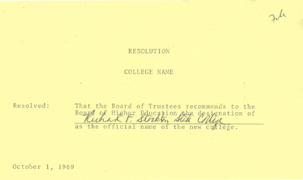 Richard F. Stockton State College name of record