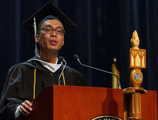Joachim Cendana, a Liberal Arts graduate, delivers the student address at Commencement on May 12.